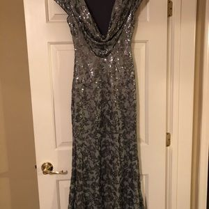 Calvin Klein Drapes Back Sequined Gown
